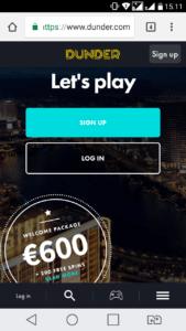 dunder mobile casino no deposit free spins