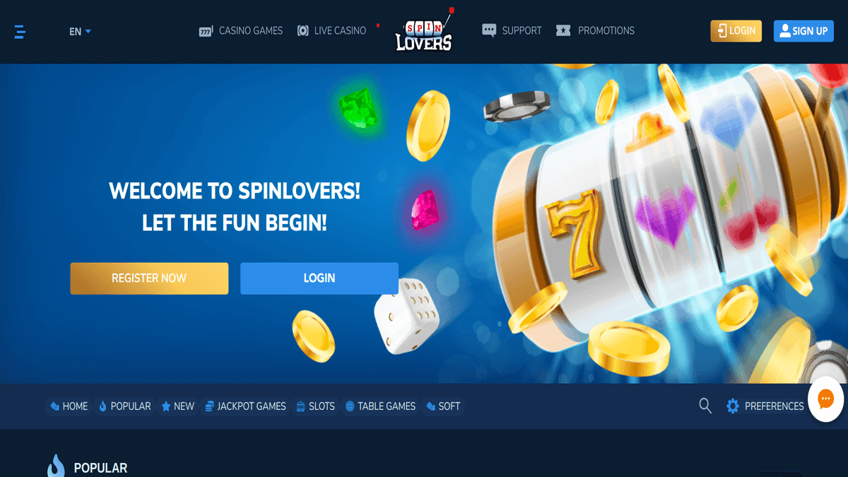 Spin Lovers - New Pay And Play Casino 2019